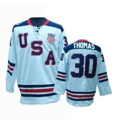 Men's Nike Team USA #30 Tim Thomas Authentic White 1960 Throwback Olympic Hockey Jersey
