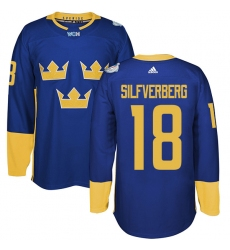 Men's Adidas Team Sweden #18 Jakob Silfverberg Authentic Royal Blue Away 2016 World Cup of Hockey Jersey