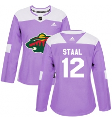 Women's Adidas Minnesota Wild #12 Eric Staal Authentic Purple Fights Cancer Practice NHL Jersey
