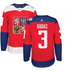 Men's Adidas Team Czech Republic #3 Radko Gudas Premier Red Away 2016 World Cup of Hockey Jersey