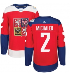 Men's Adidas Team Czech Republic #2 Zbynek Michalek Premier Red Away 2016 World Cup of Hockey Jersey