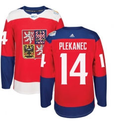 Men's Adidas Team Czech Republic #14 Tomas Plekanec Premier Red Away 2016 World Cup of Hockey Jersey