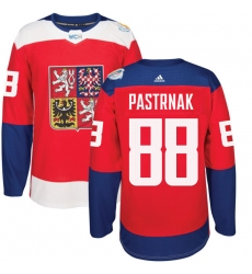 Men's Adidas Team Czech Republic #88 David Pastrnak Authentic Red Away 2016 World Cup of Hockey Jersey