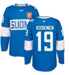 Men's Adidas Team Finland #19 Mikko Koskinen Premier Blue Away 2016 World Cup of Hockey Jersey