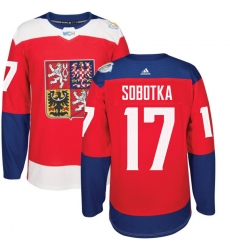 Men's Adidas Team Czech Republic #17 Vladimir Sobotka Premier Red Away 2016 World Cup of Hockey Jersey