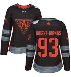 Women's Adidas Team North America #93 Ryan Nugent-Hopkins Premier Black Away 2016 World Cup of Hockey Jersey