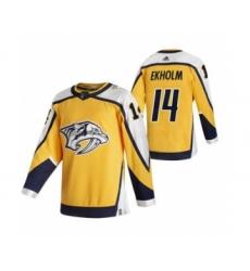 Men's Nashville Predators #14 Mattias Ekholm Yellow 2020-21 Reverse Retro Alternate Hockey Jersey