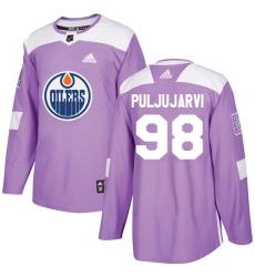 Men's Adidas Edmonton Oilers #98 Jesse Puljujarvi Authentic Purple Fights Cancer Practice NHL Jersey