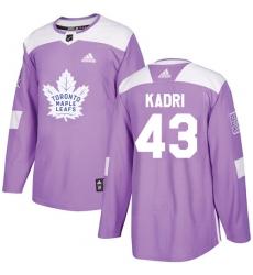 Men's Adidas Toronto Maple Leafs #43 Nazem Kadri Authentic Purple Fights Cancer Practice NHL Jersey