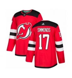 Men's New Jersey Devils #17 Wayne Simmonds Authentic Red Home Hockey Jersey
