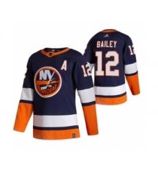 Men's New York Islanders #12 Josh Bailey Navy Blue 2020-21 Reverse Retro Alternate Hockey Jersey