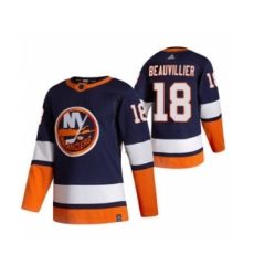 Men's New York Islanders #18 Anthony Beauvillier Navy Blue 2020-21 Reverse Retro Alternate Hockey Jersey