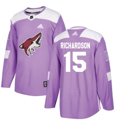 Men's Adidas Arizona Coyotes #15 Brad Richardson Authentic Purple Fights Cancer Practice NHL Jersey