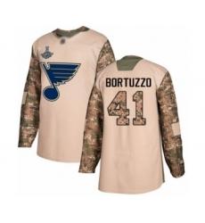 Men's St. Louis Blues #41 Robert Bortuzzo Authentic Camo Veterans Day Practice 2019 Stanley Cup Champions Hockey Jersey