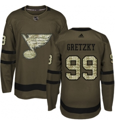 Men's Adidas St. Louis Blues #99 Wayne Gretzky Authentic Green Salute to Service NHL Jersey