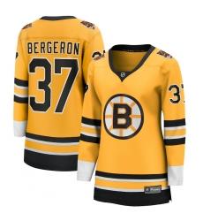 Women's Boston Bruins #37 Patrice Bergeron Fanatics Branded Gold 2020-21 Special Edition Breakaway Player Jersey