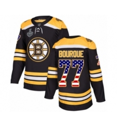 Men's Boston Bruins #77 Ray Bourque Authentic Black USA Flag Fashion 2019 Stanley Cup Final Bound Hockey Jersey