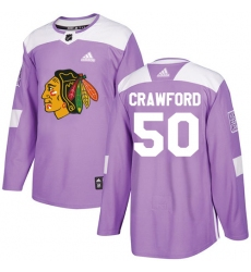 Men's Adidas Chicago Blackhawks #50 Corey Crawford Authentic Purple Fights Cancer Practice NHL Jersey