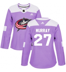 Women's Adidas Columbus Blue Jackets #27 Ryan Murray Authentic Purple Fights Cancer Practice NHL Jersey