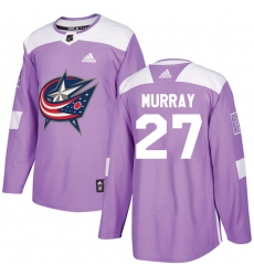 Youth Adidas Columbus Blue Jackets #27 Ryan Murray Authentic Purple Fights Cancer Practice NHL Jersey