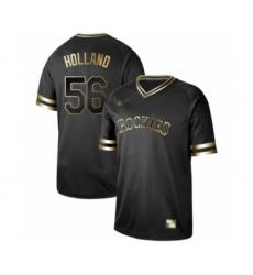 Men's Colorado Rockies #56 Greg Holland Authentic Black Gold Fashion Baseball Jersey