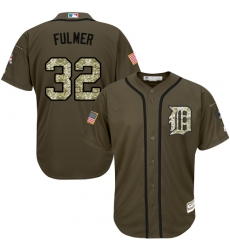 Youth Majestic Detroit Tigers #32 Michael Fulmer Authentic Green Salute to Service MLB Jersey