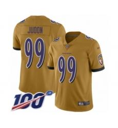 Men's Baltimore Ravens #99 Matt Judon Limited Gold Inverted Legend 100th Season Football Jersey