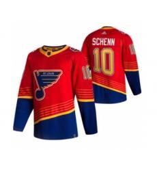 Men's St. Louis Blues #10 Brayden Schenn Red 2020-21 Reverse Retro Alternate Hockey Jersey