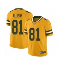 Men's Green Bay Packers #81 Geronimo Allison Limited Gold Inverted Legend Football Jersey