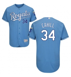 Men's Majestic Kansas City Royals #34 Trevor Cahill Light Blue Flexbase Authentic Collection MLB Jersey