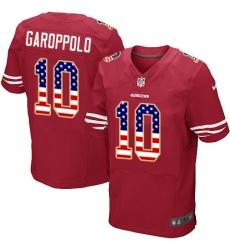 Men's Nike San Francisco 49ers #10 Jimmy Garoppolo Elite Red Home USA Flag Fashion NFL Jersey
