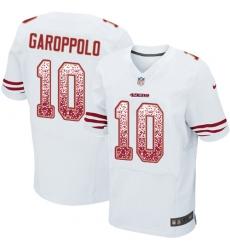 Men's Nike San Francisco 49ers #10 Jimmy Garoppolo Elite White Road Drift Fashion NFL Jersey