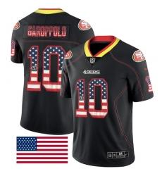 Men's Nike San Francisco 49ers #10 Jimmy Garoppolo Limited Black Rush USA Flag NFL Jersey