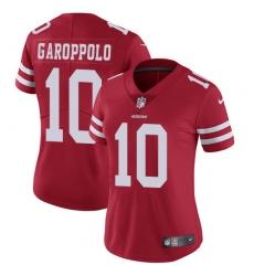 Women's Nike San Francisco 49ers #10 Jimmy Garoppolo Red Team Color Vapor Untouchable Elite Player NFL Jersey