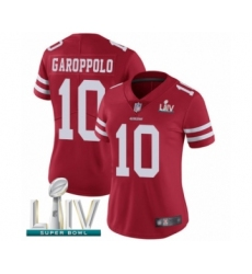 Women's San Francisco 49ers #10 Jimmy Garoppolo Red Team Color Vapor Untouchable Limited Player Super Bowl LIV Bound Football Jersey