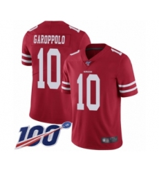 Youth San Francisco 49ers #10 Jimmy Garoppolo Red Team Color Vapor Untouchable Limited Player 100th Season Football Jersey