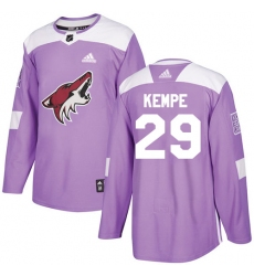 Men's Adidas Arizona Coyotes #29 Mario Kempe Authentic Purple Fights Cancer Practice NHL Jersey