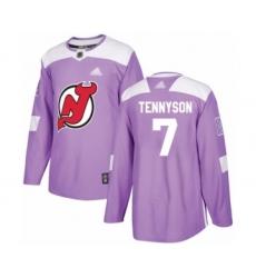 Men's New Jersey Devils #7 Matt Tennyson Authentic Purple Fights Cancer Practice Hockey Jersey