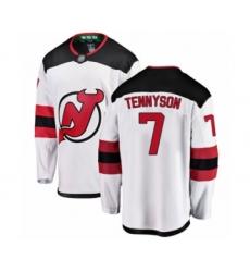 Men's New Jersey Devils #7 Matt Tennyson Fanatics Branded White Away Breakaway Hockey Jersey
