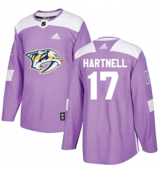 Men's Adidas Nashville Predators #17 Scott Hartnell Authentic Purple Fights Cancer Practice NHL Jersey