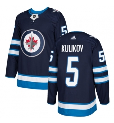Youth Adidas Winnipeg Jets #5 Dmitry Kulikov Authentic Navy Blue Home NHL Jersey