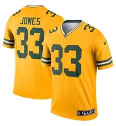 Men's Green Bay Packers #33 Aaron Jones Nike Gold Inverted Legend Jersey