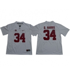 Crimson Tide #34 Damien Harris White Limited Stitched NCAA Jersey
