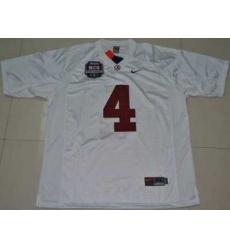 Crimson Tide #4 Mark Barron White 2012 BCS Championship Patch Embroidered NCAA Jersey