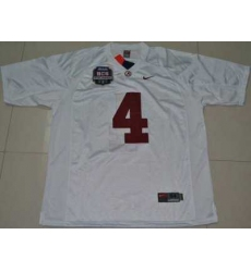 Crimson Tide #4 Marquis Maze White 2012 BCS Championship Patch Embroidered NCAA Jersey