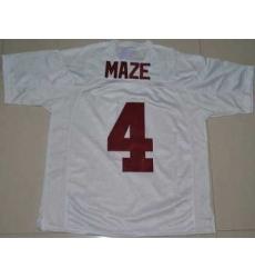 Crimson Tide #4 Marquis Maze White Embroidered NCAA Jersey