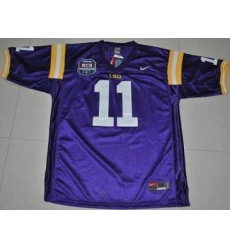 LSU Tigers #11 Spencer Ware Purple 2012 BCS Championship Patch Embroidered NCAA Jersey