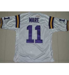 LSU Tigers #11 Spencer Ware White Embroidered NCAA Jersey