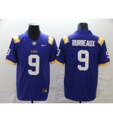 Men's LSU Tigers #9 Burreaux Purple College Football Jersey