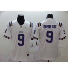 Men's LSU Tigers #9 Burreaux White College Football Jersey